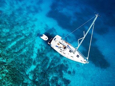 A Catamaran boat gliding in the sea
