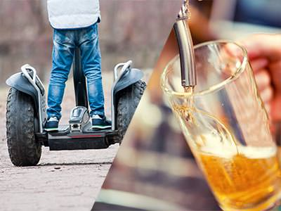 Split image of the back of a man riding a Segway and a beer being poured from a tap