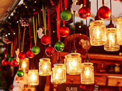 Hanging lanterns and Christmas baubles on a stall