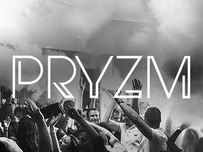 Black and white Pryzm logo on an image of people dancing in the club to a smoky backdrop