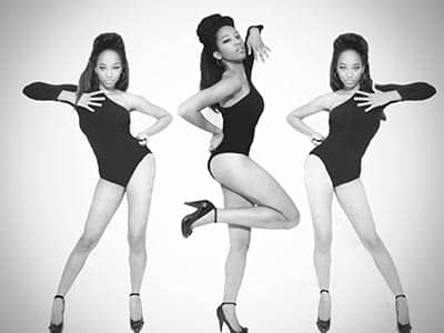 Three tiled images of a woman dancing in a black leotard, to a grey backdrop