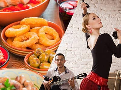 Split image of various tapas dishes on a table, and a woman salsa dancing with a guy on the guitar in the back