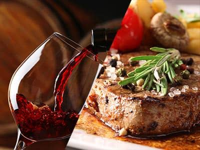 Split image of a glass of red wine being poured, and a steak with a herb topping