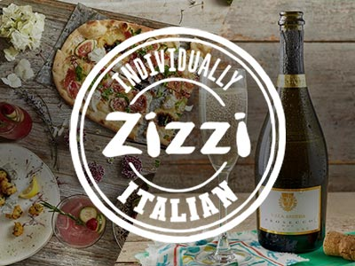 White Zizzi logo placed over a split image of food and a bottle of Prosecco with a full glass
