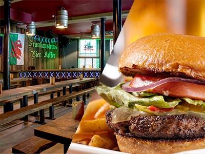 A split image of Frankenstein Bierkeller interiors and a burger meal