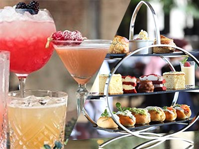 A split image of three cocktails and a delicious looking three tiered afternoon tea