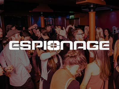 Espionage - Guestlist Entry - The Espionage logo over an image of people dancing in a club
