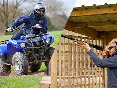 A split image of a quad bike and a man shooting a gun