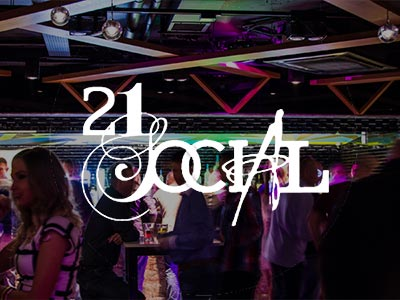 The 21 Social logo over an image of people on a dance floor in a club