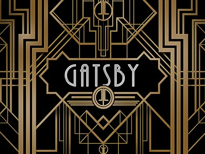 The word Gatsby on a black and gold patterned background