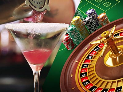 A split image of a cocktail being poured and a roulette wheel with chips to the side of it