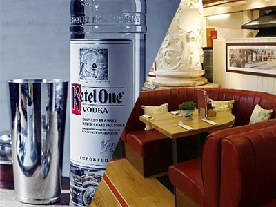 A split image of Ketel One vodka and some maroon booths