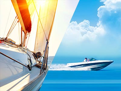 A split image of a sailing boat and a speed boat on the ocean