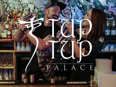 A girl and a boy taking part in a cocktail class with the Tup Tup logo over the top