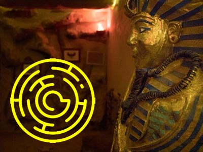 A pharaoh's head cast with a yellow maze overlapping it