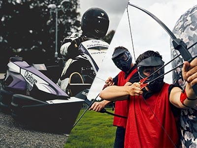 A split image of some people driving go karts and two men firing bow and arrows around an inflatable obstacle