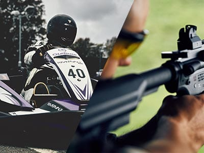 A split image of a person in a go kart and a man firing a gun