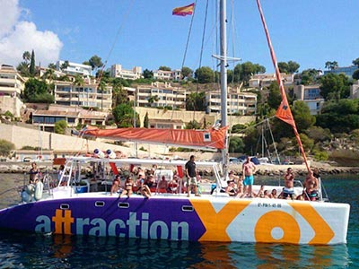 Lots of people on a private catamaran charter in Magaluf