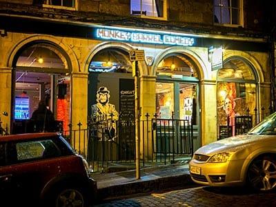 The exterior of a comedy club in Edinburgh