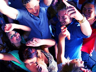An areal shot of some people partying in a club