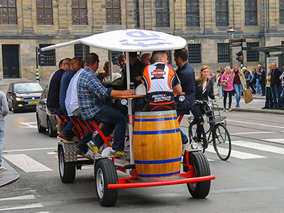 A group of people on a beer bike
