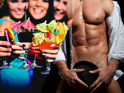 A split image of women holding cocktails and a man with his shirt off holding a hat in front of his penis