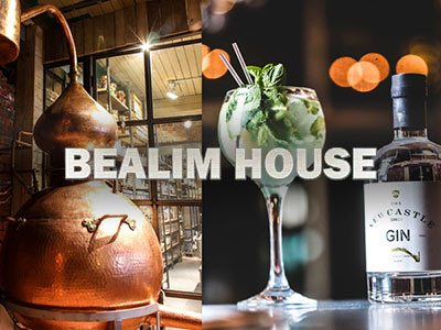 A split image of copper vat and glass bottle of gin, with the Bealim House logo overlapping