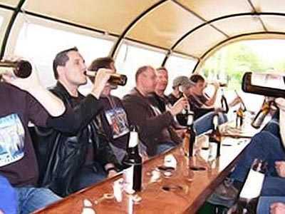 A long bench on a beer coach