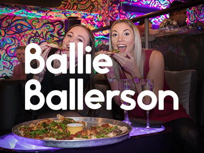 The Ballie Ballerson logo over a photo of two girls in the club