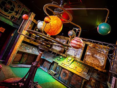 A model of the planets in Mr Mulligan's space golf area