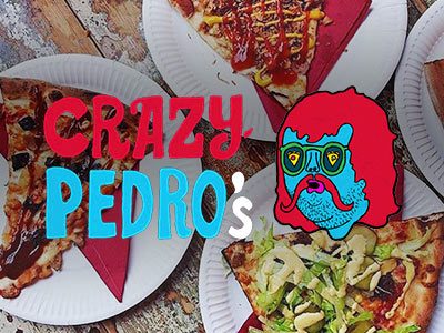 Crazy Pedro's logo over plates of food