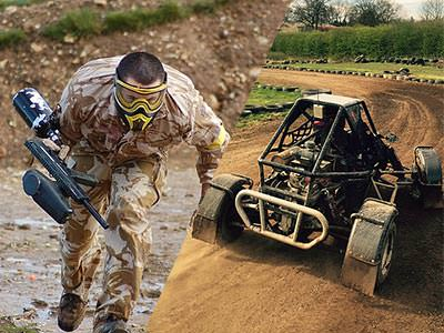 A split image of a man in paintball overalls and mask running with a paintball gun and a black off-road buggy driving on a dirt track