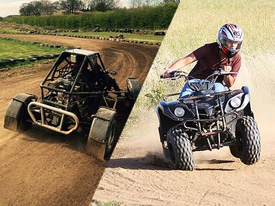 A split image of an off-road buggy driving on a dirt track and a person turning a quad bike round a tight corner