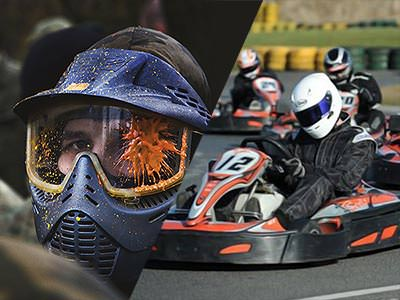 A split image of a man in a paintball mask and go karts racing on an outdoor track