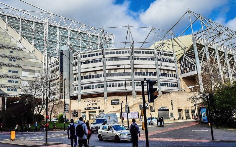 An view of the outside of St James' Park