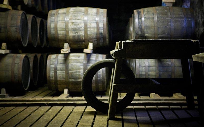 Casks in a distillery