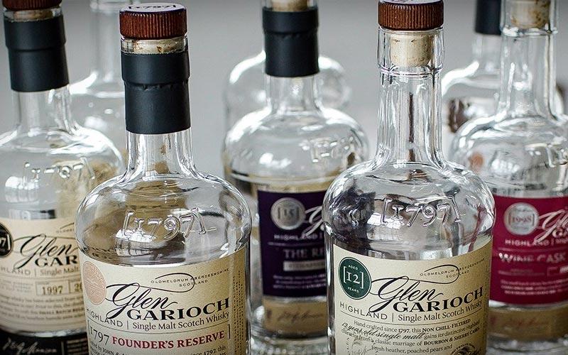 A collection of Glen Garioch bottles