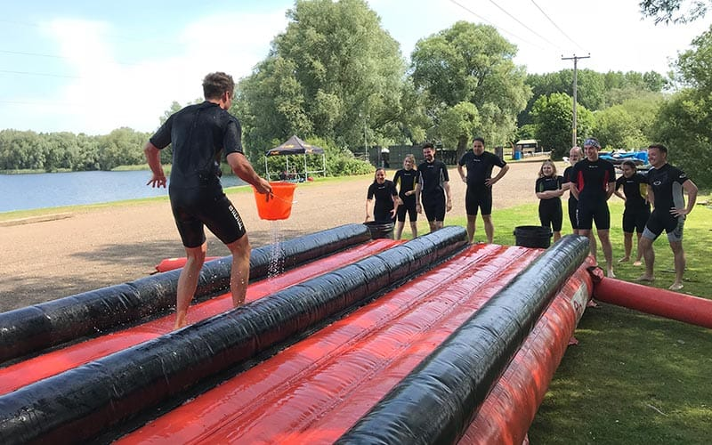 A Slip and Slide course outdoors