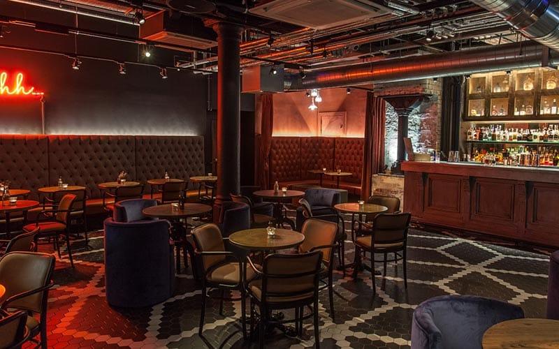 An interior view of Alston Bar