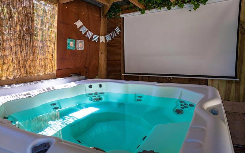 A large hot tub outside