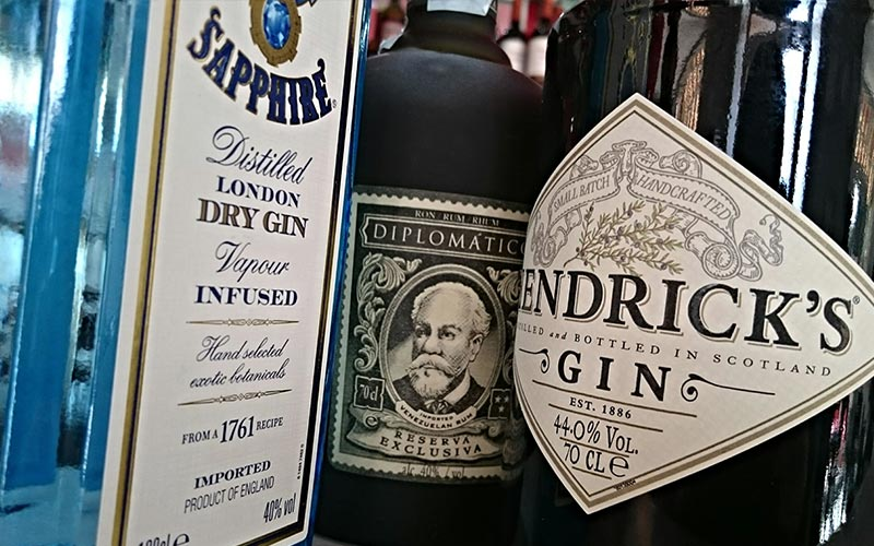 A close up of bottles of gin