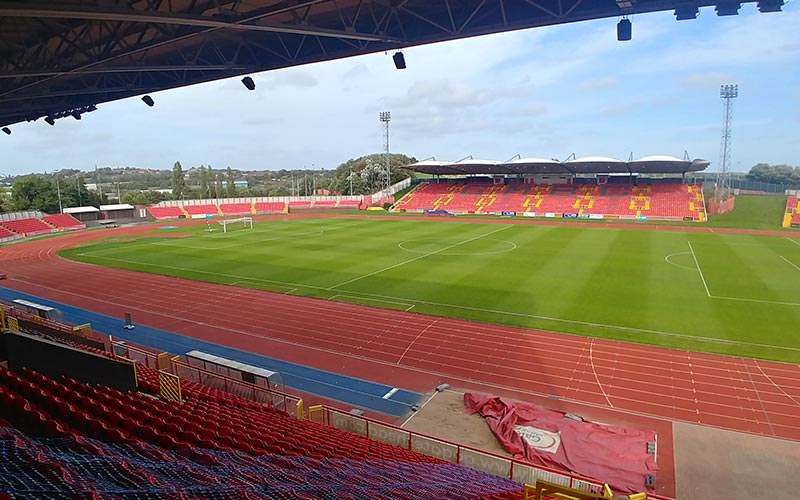 Image of inside gateshead stadium showing the running track around the football pitch