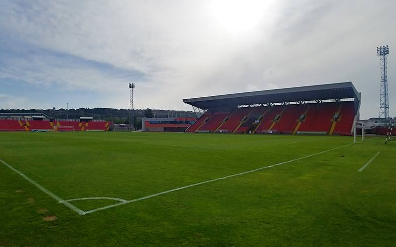 Image of inside gateshead stadium showing the football pitch and some of the seating