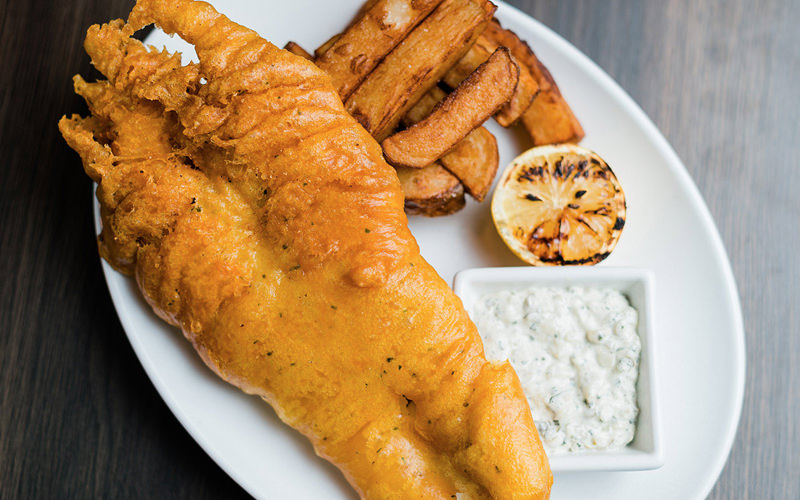 A large portion of fish and chips