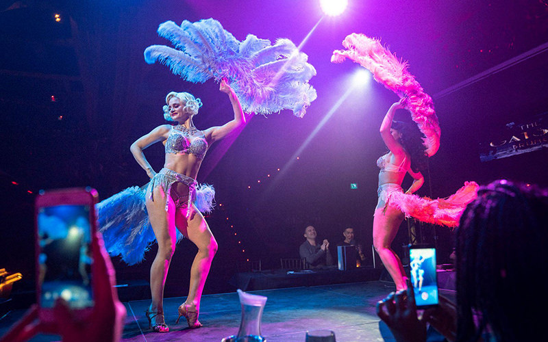 Two women in lingerie performing on stage