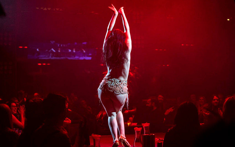 A woman in lingerie performing on stage