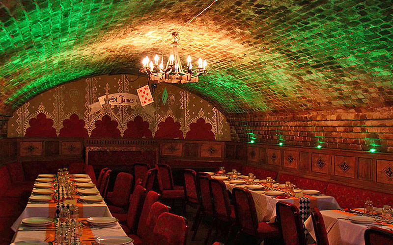 The interiors of a medieval restaurant, in an alcove