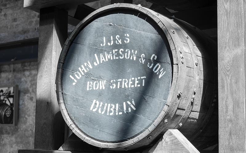 A keg in Jameson Distillery with John Jameson and Son's stamp on