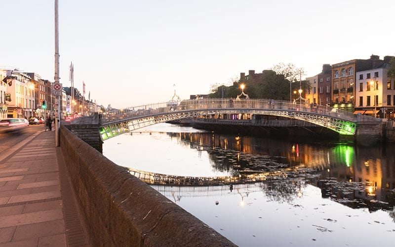 A bridge over The Liffey at dusk