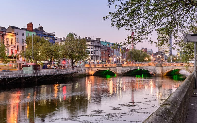Some reflections in the water of the River Liffey in Dublin